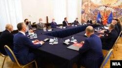 Фотографија од денешната седница на Советот за безбедност кај претседателот Стево Пендаровски