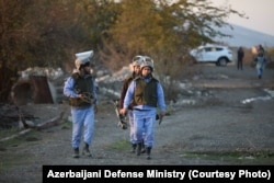 Deminers in Azerbaijan's Agdam district: