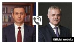 Секретарь Совета безопасности Армении Армен Григорян (слева) и генеральный секретарь ОДКБ Станислав Зась