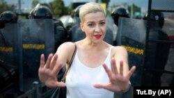 Բելառուս - Ընդդիմադիր առաջնորդ Մարիա Կոլեսնիկովան Մինսկում բողոքի ցույցի ժամանակ, 30-ը օգոստոսի, 2020թ.