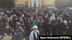 Наразылық митингісіне қатысушылар. Алматы, 31 қазан 2020 жыл.