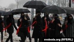 Csendes tüntetés Minszkben, 2021. március 12-én.