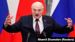 Аляксандар Лукашэнка падчас прэсавай канфэрэнцыі з Уладзімірам Пуціным