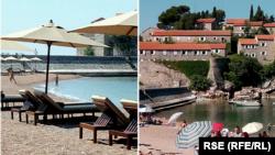Plaža na Svetom Stefanu (lijevo 2019, desno 28. juna 2021. godine)