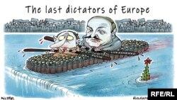 """Caricatură politică din Ucraina: """"Ultimii dictatori ai Europei""""."""