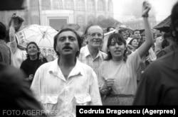 Manifestanți în Piața Universității - 13-15 iunie 1990