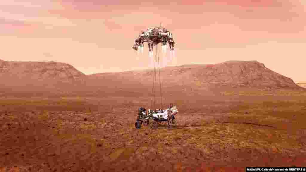 Így landolhatott a Marson a Perseverance szonda - derül ki ebből az illusztrációból.
