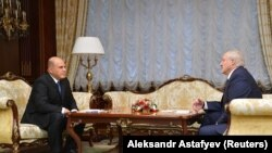 Рускиот премиер Михаил Мишустин и белорускиот претседател Александар Лукашенко на денешната средба во Минск, 3 септември 2020