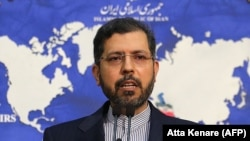 IRAN -- Iranian foreign ministry spokesman Saeed Khatibzadeh speaks during a press conference in Tehran, February 22, 2021