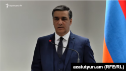 Armenian Ombudsman Arman Tatoyan at a news conference in Yerevan on March 13, 2021