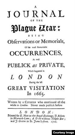 """Титульный лист первого издания """"Дневника"""". Его полное название: """"Дневник чумного года, содержащий наблюдения и воспоминания о самых замечательных событиях как общественных, так и сугубо личных, произошедших в Лондоне во время последнего великого испытания в 1665 году. Писано жителем города, все это время не покидавшим Лондон. Никогда прежде не предававшийся гласности"""""""