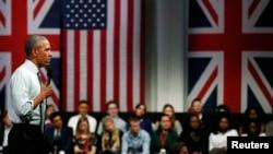 АҚШ президенті Барак Обама Лондон муниципалитеті ғимаратында өткен жиында сөйлеп тұр. 23 сәуір 2016 жыл.