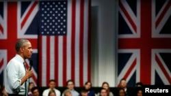 Birleşen Ştatlaryň prezidenti Barak Obama Londonda, Lindliý zalynda çykyş etdi.