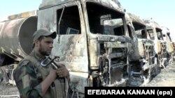 Полицейский на месте теракта в Самарре, Ирак. 2 сентября 2017 года
