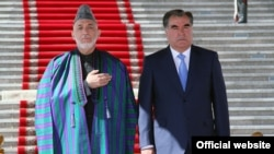 Tajik President Emomali Rahmon (left) with his Afghan counterpart Hamid Karzai in Dushanbe.