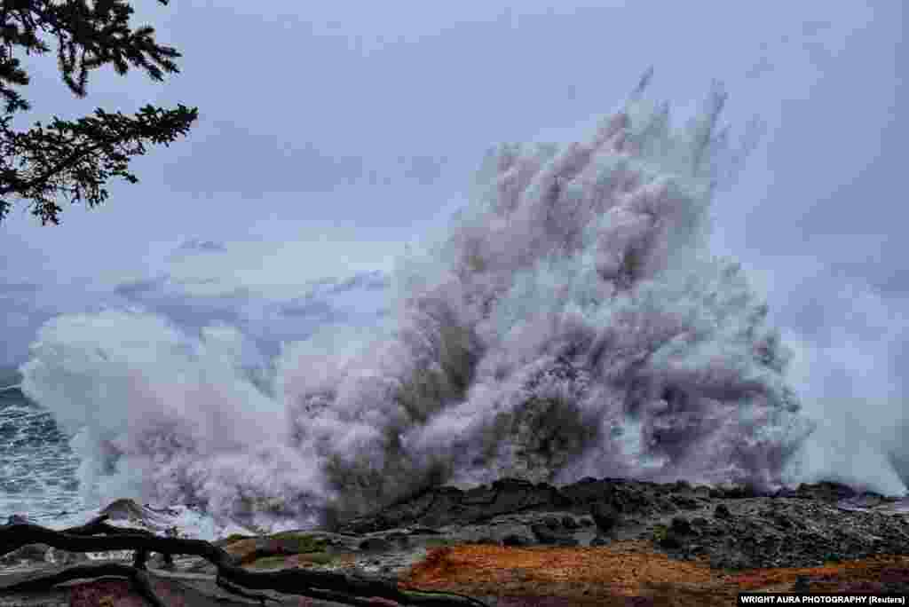 Giant waves at Shore Acres State Park in Oregon in the U.S. Pacific Northwest. (Wright Aura Photography via Reuters)