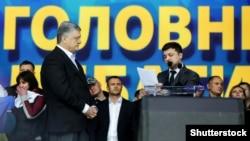 Зеленський (п)здобув у другому турі виборів президента 73,22% голосів. Порошенко (л) – 24,45%