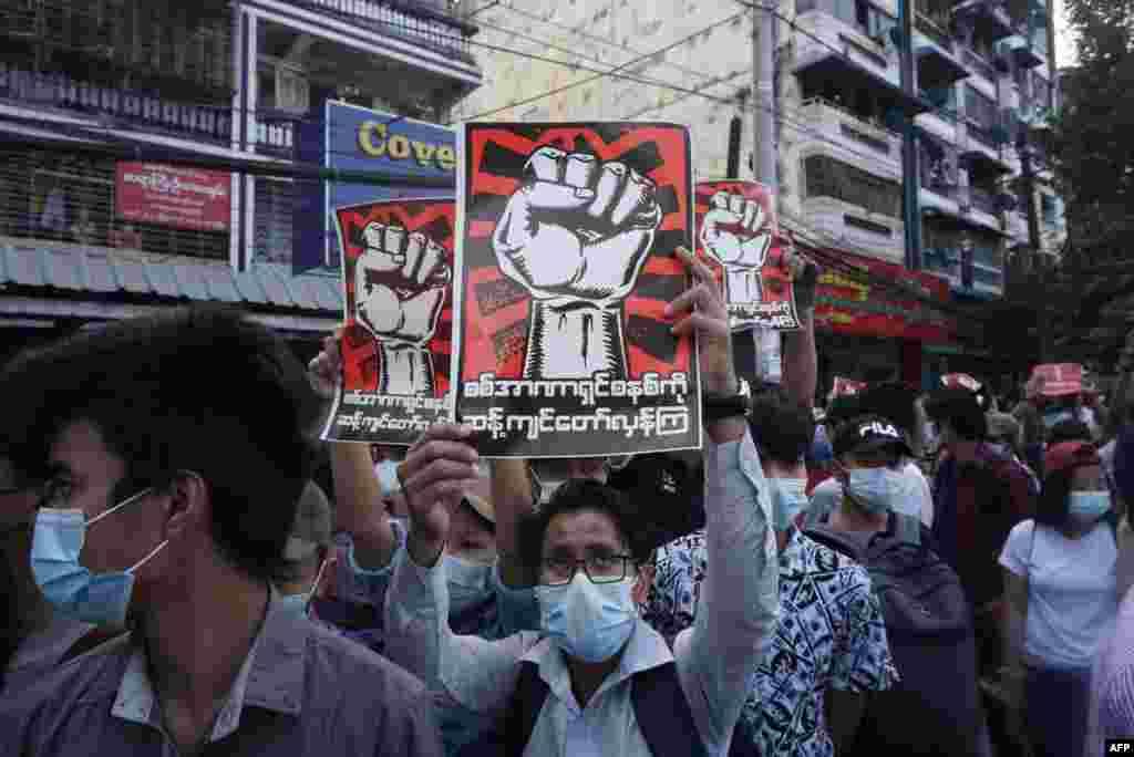 Демонстрация в Янгоне 8 февраля