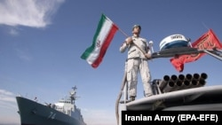 File Photo IRAN -- Iranian naval forces inaugurate Iranian new domestically made destroyer Sahand in southern port of Bandar Abbas, December 1, 2018