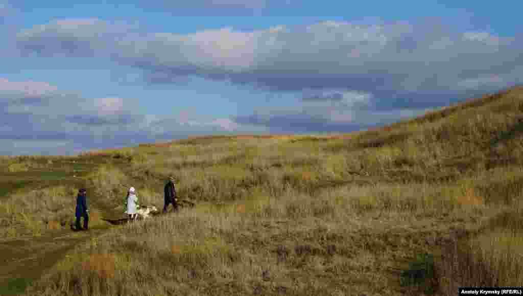 Сразу за скалами, в глубине мыса Керменчик, – нетронутые травы на зольниках заповедного античного городища-крепости «Неаполь Скифский»