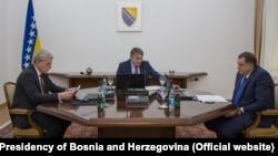 Članovi BH Predsjedništva, Šefik Džaferović, Željko Komšić i Milorad Dodik, 19. november, 2019.