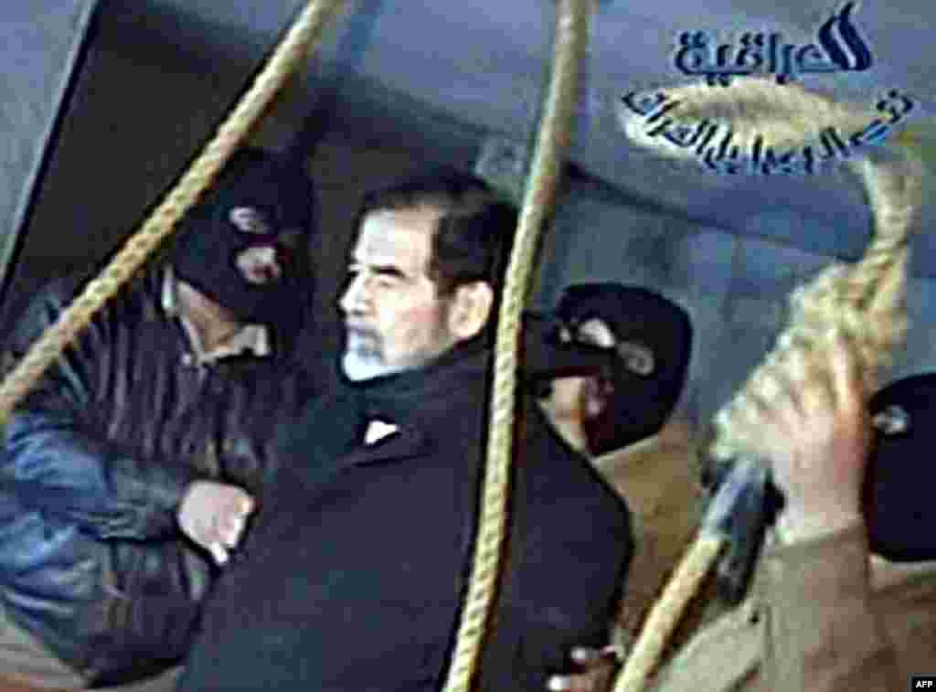 Saddam Hussein was executed by hanging on December 30, 2006. Video taken by Al-Iraqiya television showed the ousted Iraqi president moments before his death.