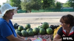 A roadside melon vendor on the Chisinau-Bender highway in July.