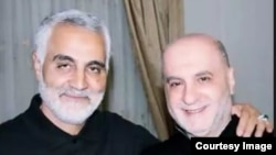 Photo of Qasem Soleimani (left), the notorious commander of Iran's extraterritorial Qods armed force and Amin Sherri (right):Photo provided by the U.S. Treasury