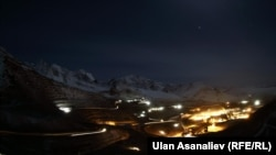 The Kumtor Gold Mine operating at night in the Tien-Shan region of Kyrgyzstan, at an altitude of 4,000 meters above sea level.