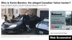 CBC/Radio-Canada-ның Кәрім Баратов туралы мақаласының скриншоты.