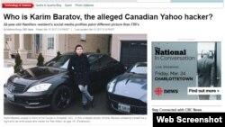 Қазақстан тумасы Кәрім Баратовтың Онтариода ұсталғаны туралы канадалық сайттағы мақаладан скриншот.