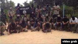 Скриншот видеоролика ИГ, на котором, предположительно, боевики - выходцы из Центральной Азии.