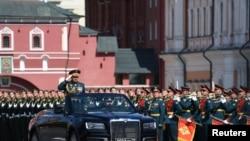 Parada militară de la Moscova, marcând - cu întârziere - sfârșitul celui de al Doilea Război Mondial, 24 iunie 2020.