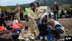 მიგრანტები, რომლებიც თურქეთიდან საბერძნეთში გადავიდნენ. 2015 წლის 24 ნოემბერი