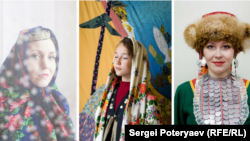 A Tatar woman, Bashkir girl, and Mari woman (left to right) pose for each of Sergei Poteryaev's portrait collections