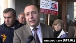 Armenia -- Tigran Hayrapetian, the lawyer of jailed opposition activist Gevorg Safarian, speaks to RFE/RL, Yerevan, 25Mar2016