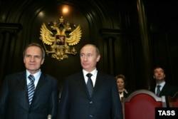 Глава Конституционного суда России Валерий Зорькин и президент Владимир Путин