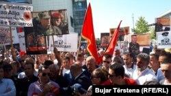 Protest sa zahtevom za oslobađanje bivšeg komandanta OVK Sulejmana Seljimija, Priština 19. septembar 2018.
