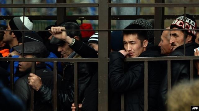 Мигранты стоят в очереди в отделение ФМС за разрешением на легальное пребывание в России