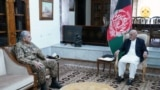 Afghanistan -- Afghanistan's president Mohammad Ashraf Ghani محمد اشرف غنی during meeting with Pakistan's Chief of Army Staff General Qamar Javed Bajwa and UK's Chief of Defense Staff General Nicholas Patrick Carter in Kabul, 10 May 2021