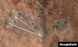 نقشه هوایی گوگل منطقه شعیرات (روستای شعیرات و فرودگاهی در نزدیکی آن) را پیش از حمله اخیر نشان میدهد.
