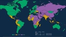 Harta cu starea democrației la nivel global, potrivit raportului Freedom House 2021
