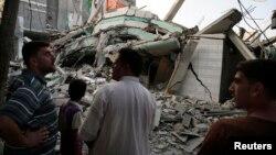 «Համաս» խմբավորման առաջնորդ Իսմայիլ Հանիյեի՝ հրթիռակոծության հետևանքով ավերակների վերածված տունը Գազայի հատվածում, 29-ը հուլիսի, 2014թ.