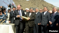 Armenia - President Serzh Sarkisian (R) and other officials attend a groundbreaking ceremony for the construction of a hydroelectric power plant on the , Armenian-Iranian border, 8Nov2012.