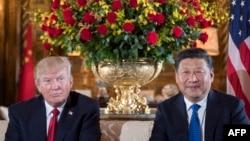 АҚШ президенті Дональд Трамп (сол жағында) және Қытай басшысы Си Цзиньпин