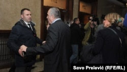 Democratic Front Milan Knezevic and Andrija Mandic in front of the Assembly of Montenegro