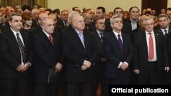 Armenia - President Serzh Sarkisian (second from right) attends the presentation of a new book by pro-government MP Artashes Geghamian (C), Yerevan, 20Dec2012.