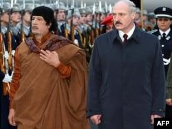 Кадафі і Лукашэнка падчас візыту Кадафі ў Менск