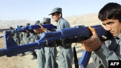 Afghan police officers in training in Faizabad in September