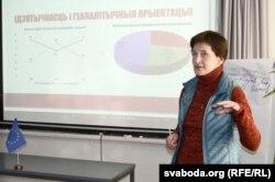 Аксана Шэлест. За ёй слайд, якім ілюструецца, як беларускае грамадзтва ставіцца да пытаньня незалежнасьці Беларусі